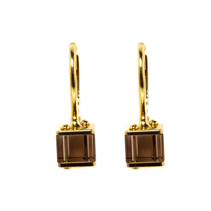 8454fecf Louis Vuitton Emprise Cube Smoky Quartz 18k Yellow Gold Drop Earring