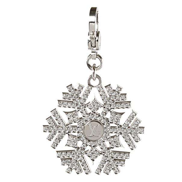 Louis Vuitton 18 K White Gold Diamond Charms de Monogram Snowflake Pendant