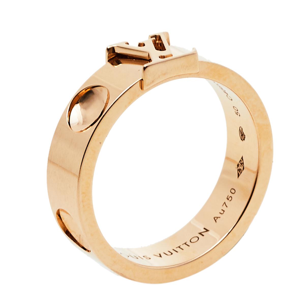 Louis Vuitton Empreinte 18K Rose Gold Ring Size 50