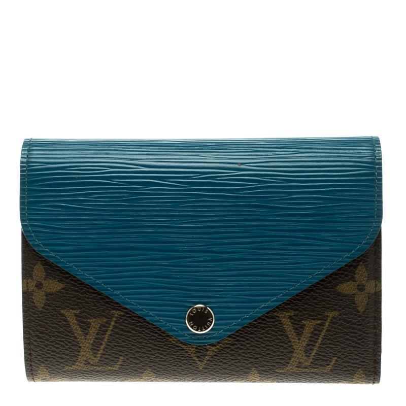 4d22dd1281 Louis Vuitton Turquoise Epi Leather and Monogram Canvas Marie-Lou Compact  Wallet