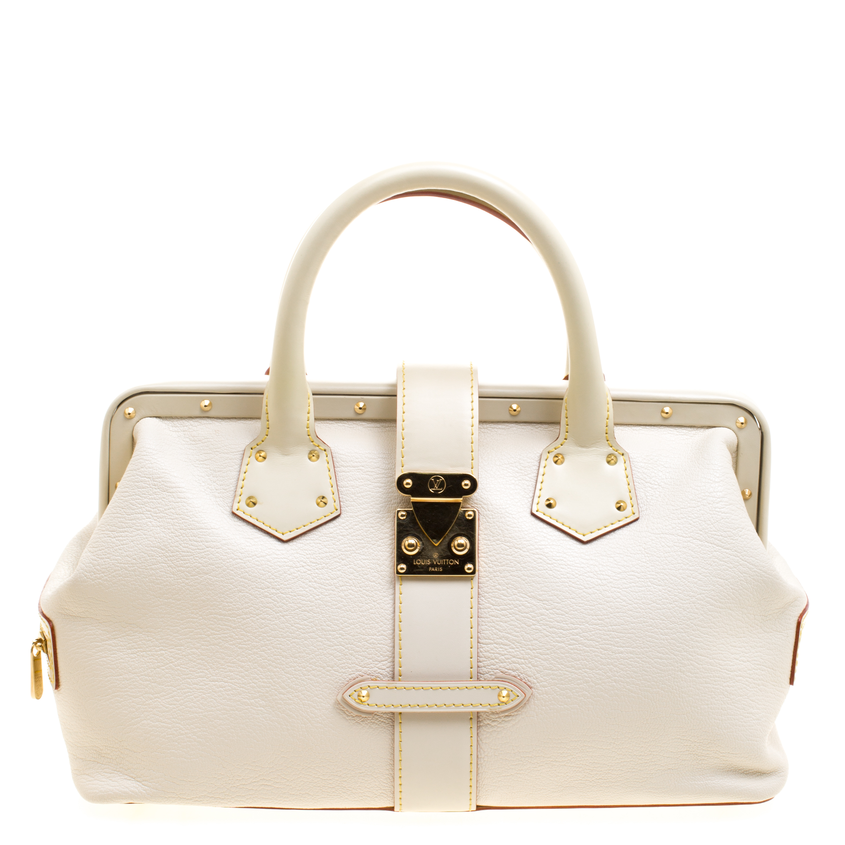 a9107ea687 Louis Vuitton White Suhali Leather L'Ingenieux PM Bag