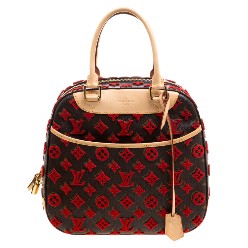 9e0055d28f54 Buy Louis Vuitton Rouge Monogram Canvas Tuffetage Deauville Cube Bag 120829  at best price