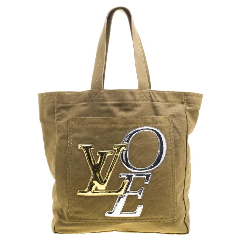 c4363d531d0 Louis Vuitton Khaki Canvas Limited Edition That's Love Miroir Tote