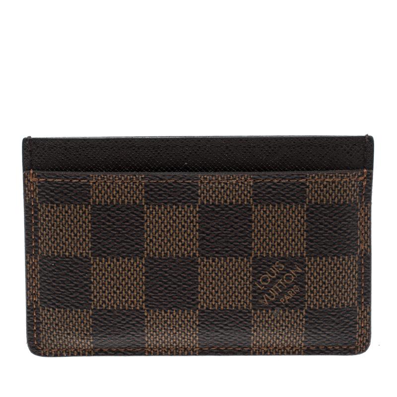 65e5fa70bf Louis Vuitton Damier Ebene Canvas Card Holder