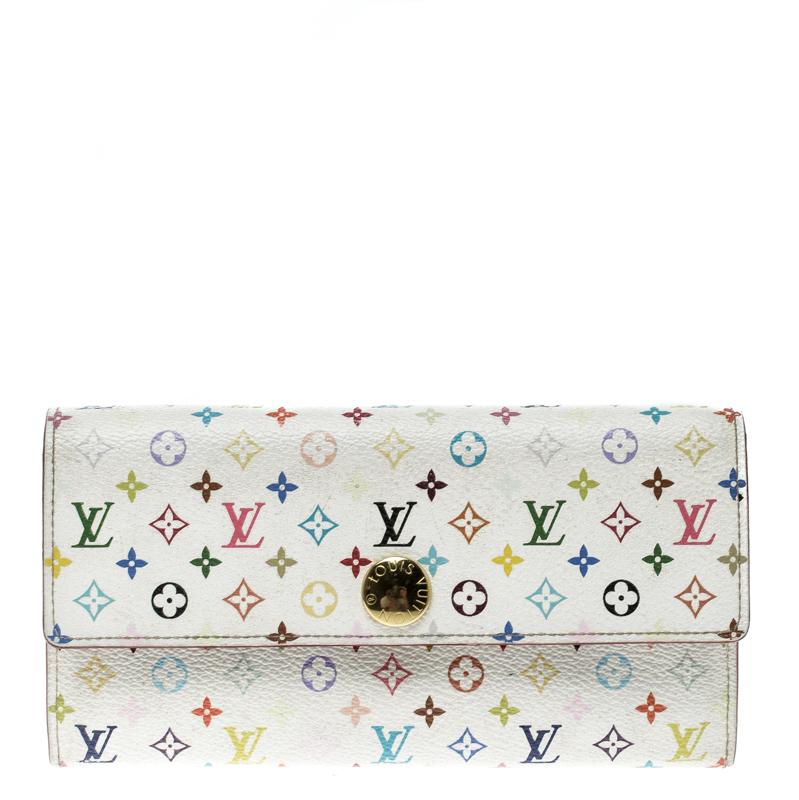 be37515380b Louis Vuitton White Multicolor Canvas Sarah Wallet
