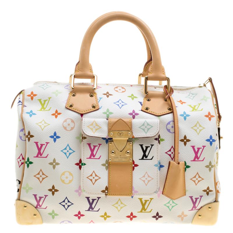 3aae521e4e7 Buy Louis Vuitton White Multicolor Monogram Canvas Speedy 30 138073 ...