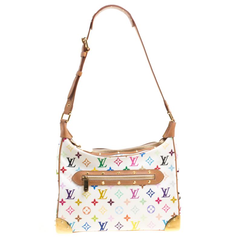 Buy Louis Vuitton White Multicolor Monogram Canvas Boulogne Shoulder Bag  147033 at best price  4fe23c1ed6e70