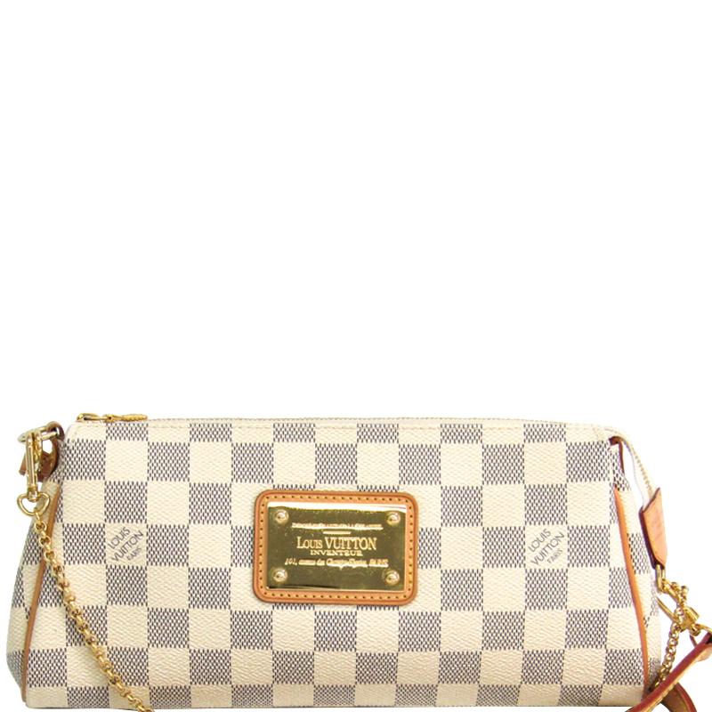 Buy Louis Vuitton Damier Azur Canvas Eva Clutch Bag 162860 At Best