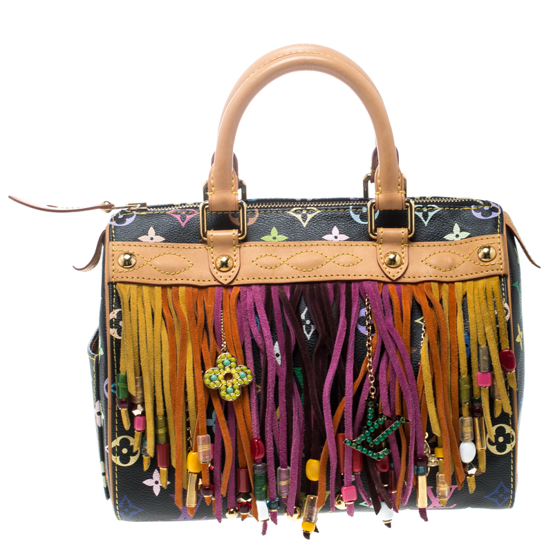 07781aacad70 ... Louis Vuitton Black Multicolor Monogram Canvas and Leather Limited  Edition Fringe Speedy 25. nextprev. prevnext