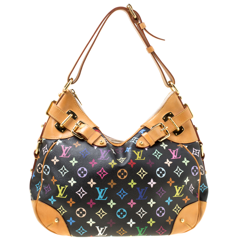 Buy Louis Vuitton Black Multicolor Monogram Canvas Greta Bag 174793 ... 3e7720c84