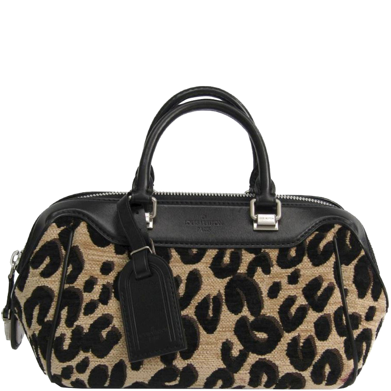 3f6df4a4e0e41 Louis Vuitton Beige/Black Leopard Print Canvas and Leather Baby Bag