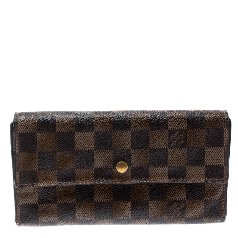7ba396dbd52 Louis Vuitton Damier Ebene Canvas Sarah Flap Wallet