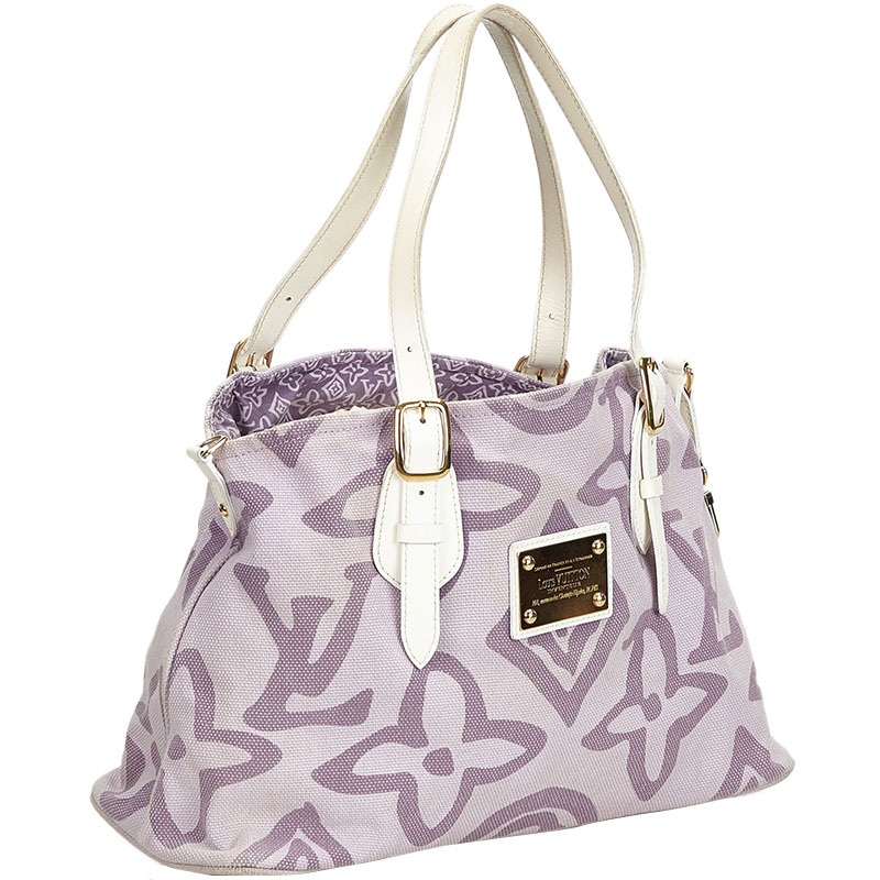 Louis Vuitton White/Purple Monogram Tahitienne Cabas PM Bag  - buy with discount