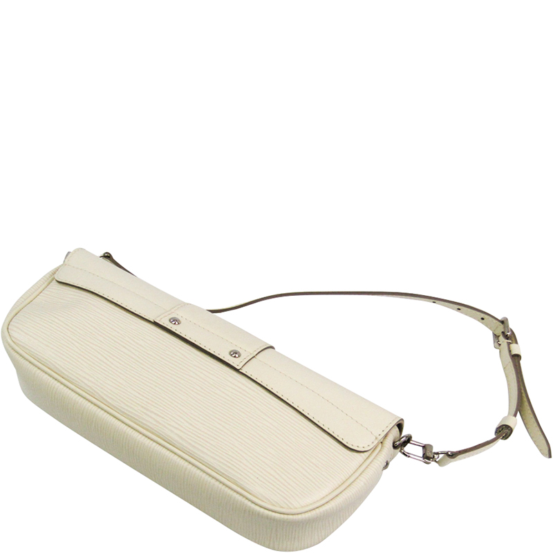 Louis Vuitton Ivory Epi Leather Pochette Montaigne Bag, White