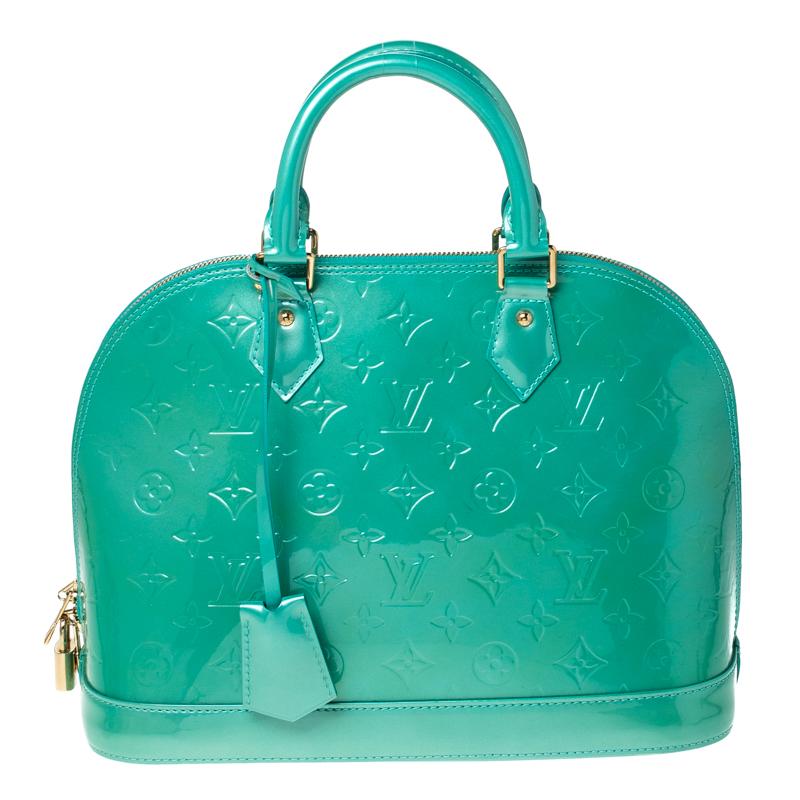 Louis Vuitton Bleu Lagon Monogram Vernis Leather Alma PM Bag