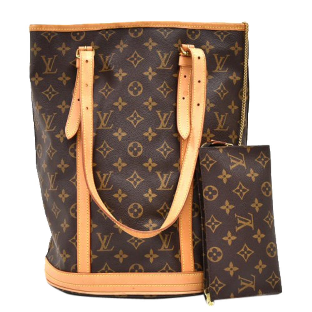 Pre-owned Louis Vuitton Monogram Canvas Bucket Gm Bag In Brown