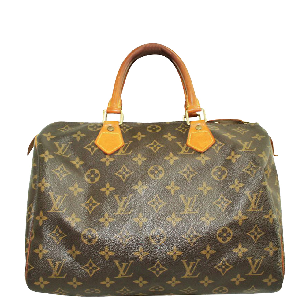 Pre-owned Louis Vuitton Canvas Speedy 30 Satchels In Brown