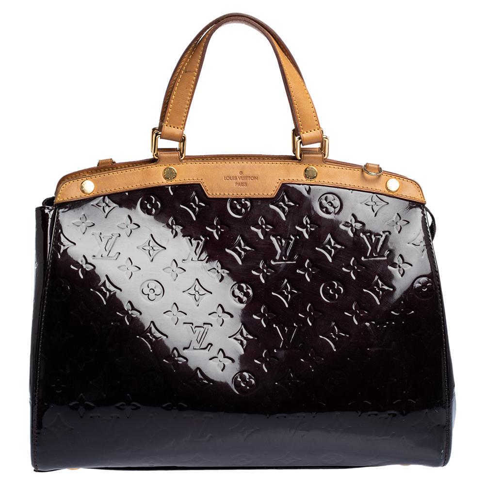 Pre-owned Louis Vuitton Amarante Monogram Vernis Brea Gm Bag In Burgundy