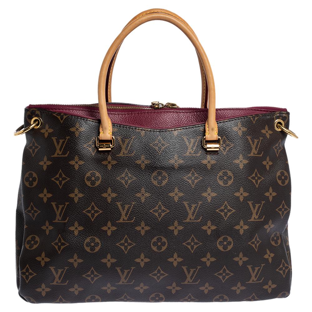Pre-owned Louis Vuitton Monogram Canvas Pallas Mm Bag In Brown
