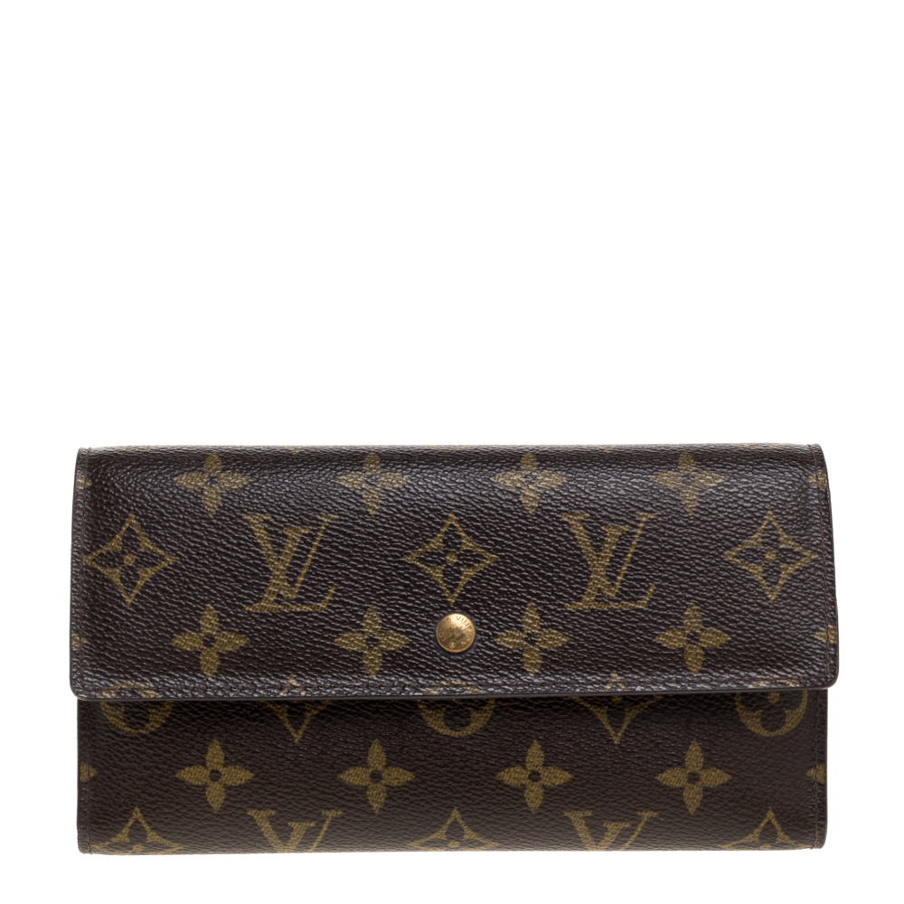 Pre-owned Louis Vuitton Monogram Canvas Sarah Continental Wallet In Brown