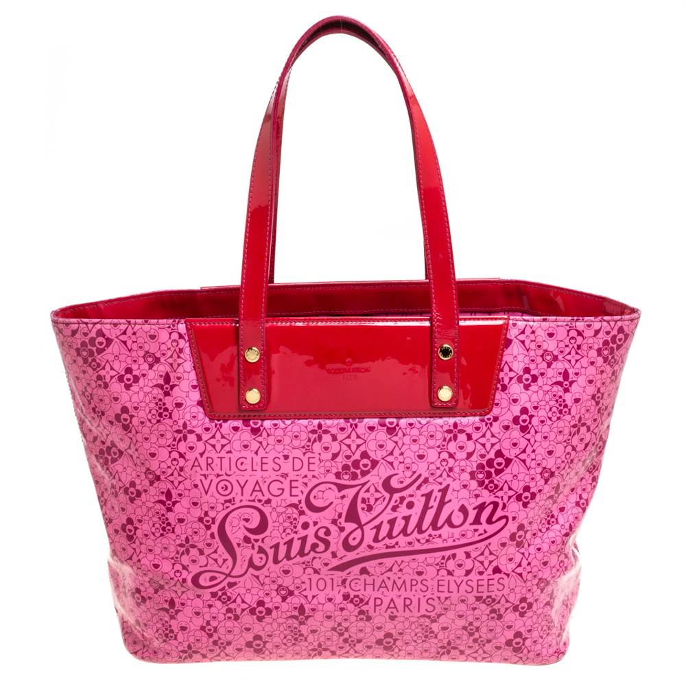 Pre-owned Louis Vuitton Pink Shiny Leather Limited Edition Cosmic Blossom Pm Bag