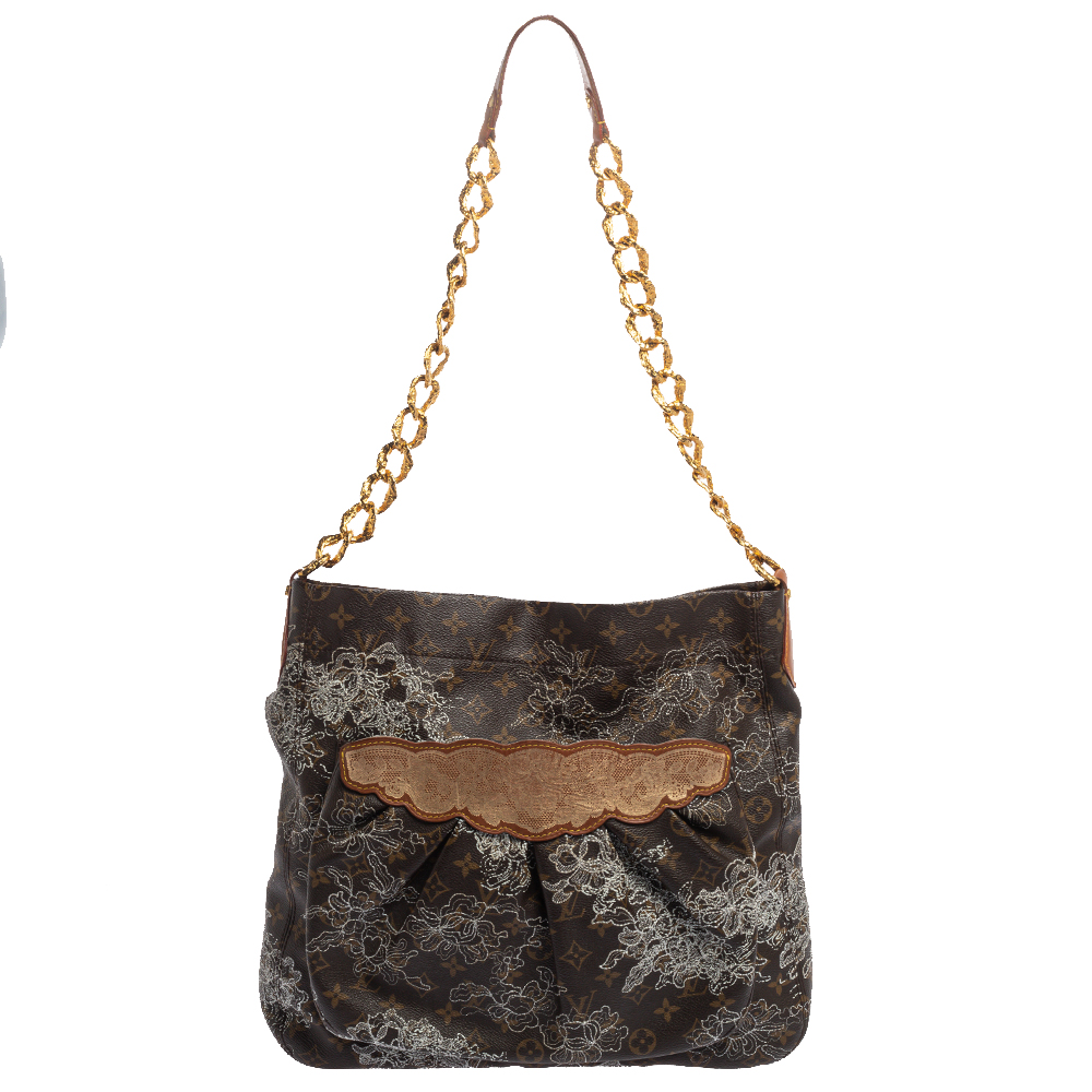 Pre-owned Louis Vuitton Monogram Canvas Limited Edition Dentelle Fersen Gm Bag In Brown