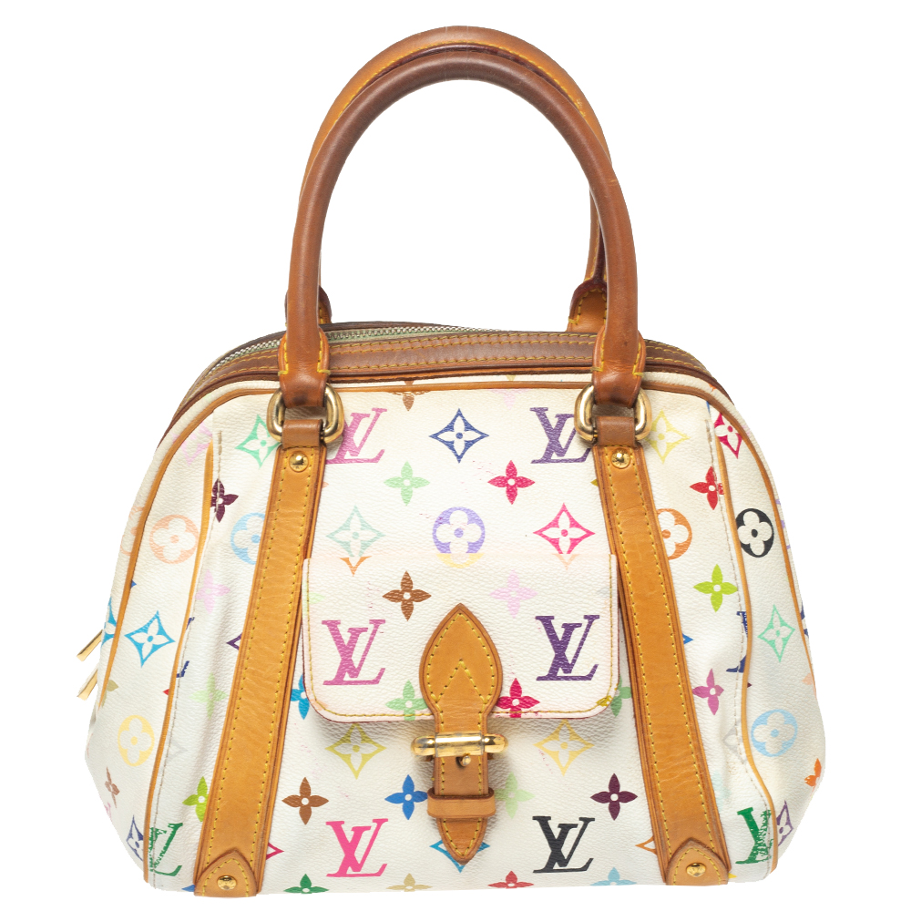 Pre-owned Louis Vuitton White Monogram Multicolore Canvas Priscilla Bag