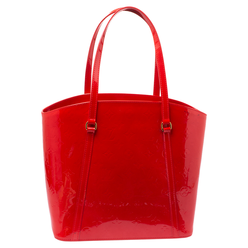 Pre-owned Louis Vuitton Grenadine Monogram Vernis Avalon Gm Bag In Red