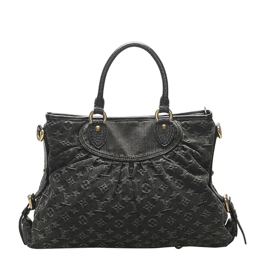 Pre-owned Louis Vuitton Black Monogram Denim Canvas Neo Cabby Mm Bag