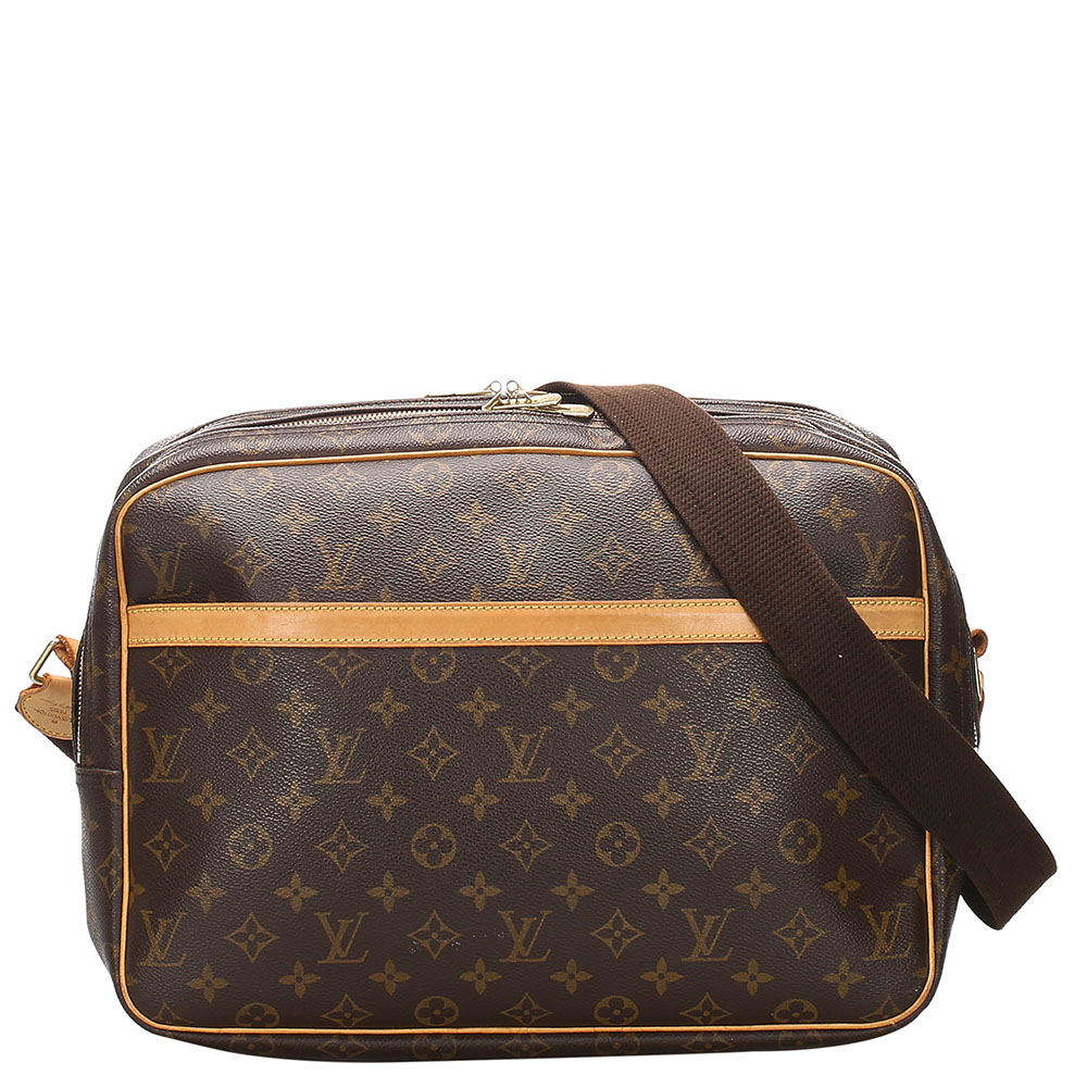 Pre-owned Louis Vuitton Brown Monogram Canvas Reporter Gm Bag