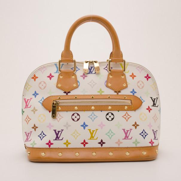 aadbbc1227c6 Louis Vuitton White Multicolor Murakami Alma 36983 At Best
