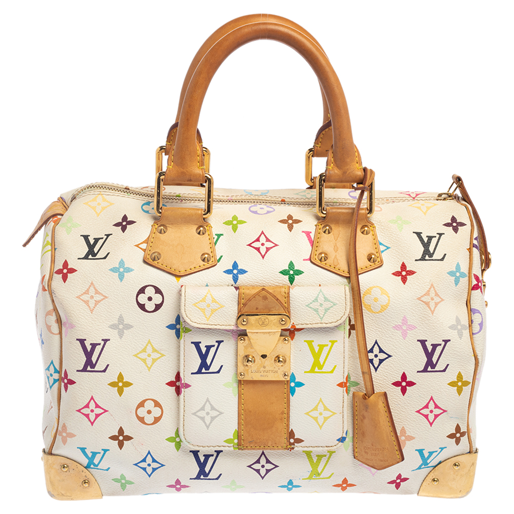 Pre-owned Louis Vuitton White Monogram Multicolore Canvas Speedy 30 Bag