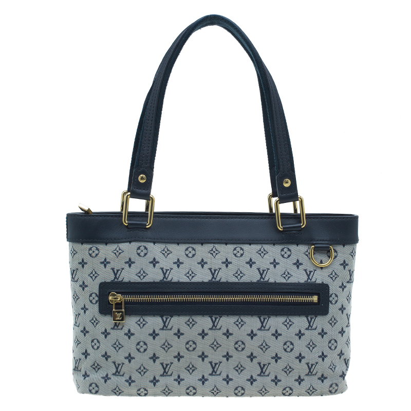 Buy Louis Vuitton Navy Mini Lin Canvas Lucille PM with Wallet 38942 ... 054c6023abf65