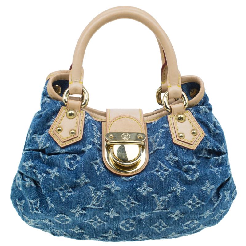 b2064baf550b Louis Vuitton Blue Monogram Denim Pleaty Satchel Bag 41063 At
