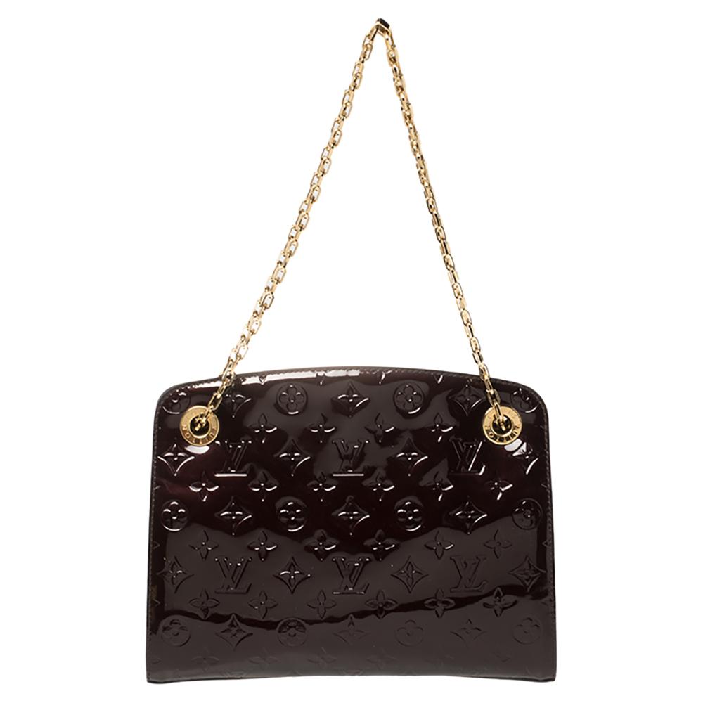 Pre-owned Louis Vuitton Amarante Monogram Vernis Virginia Mm Bag In Burgundy