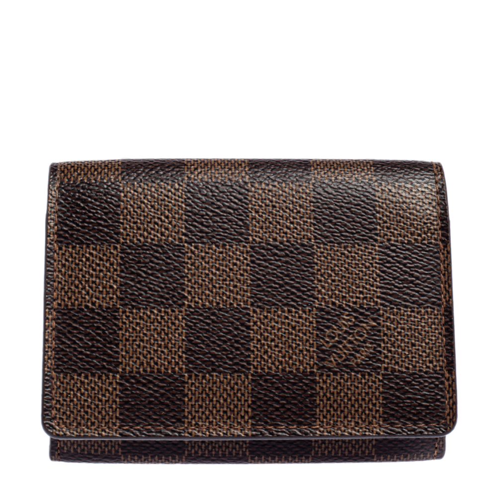 Pre-owned Louis Vuitton Damier Ebene Canvas Business Card Holder In Brown