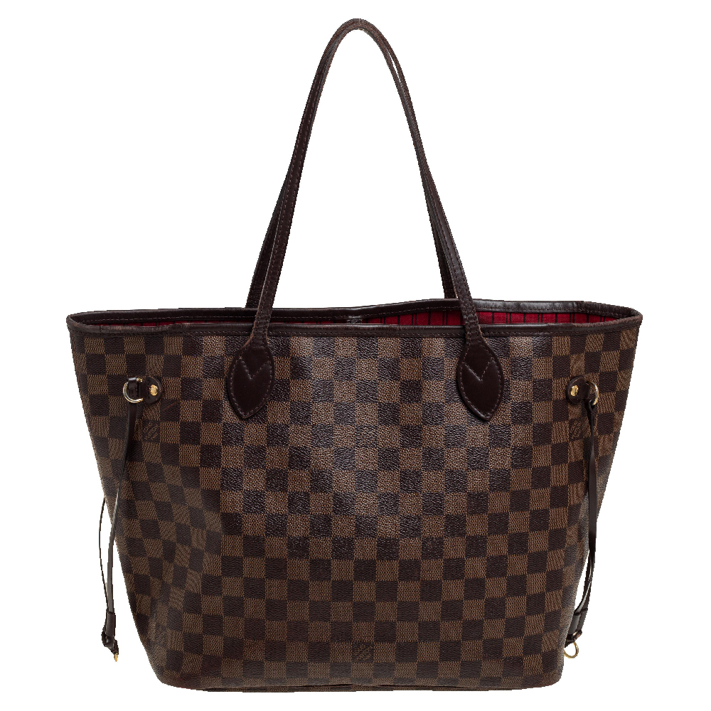 Pre-owned Louis Vuitton Damier Ebene Canvas Neverfull Mm Bag In Brown