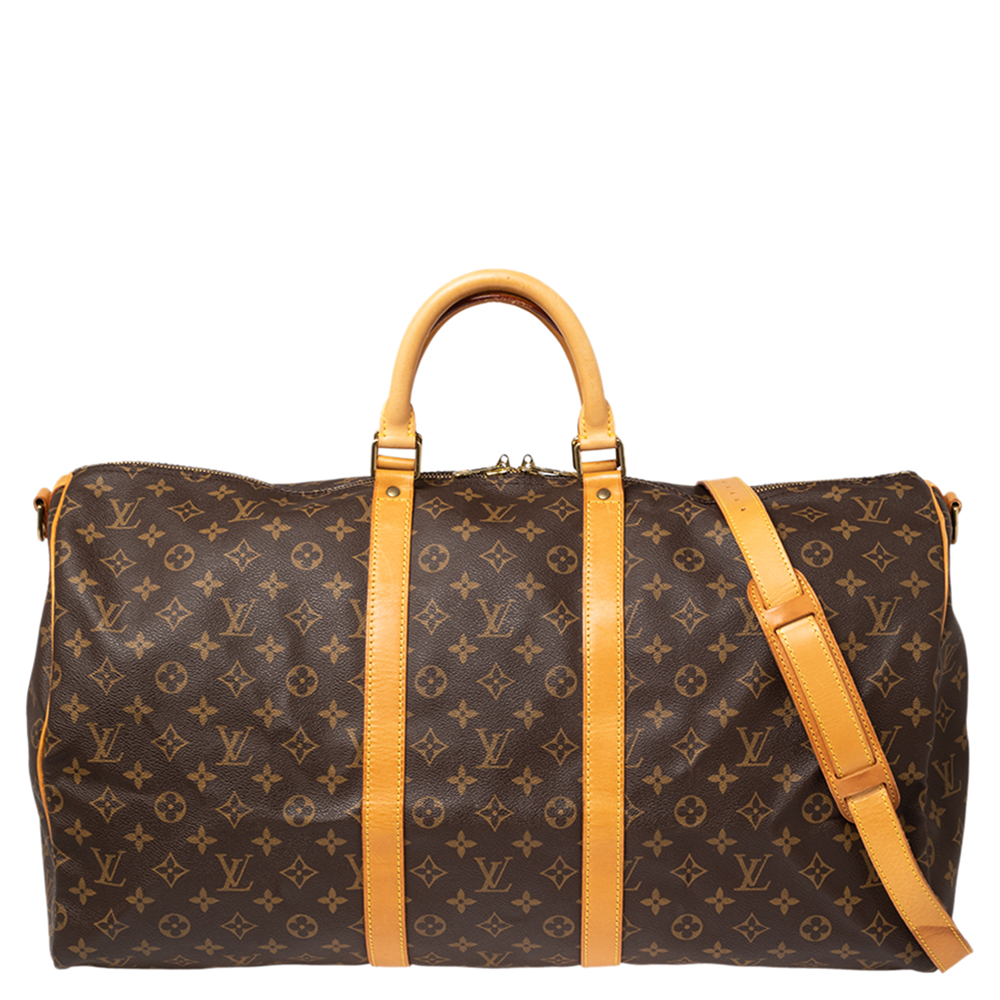 Pre-owned Louis Vuitton Monogram Canvas Keepall Bandouliere 55 Bag In Brown