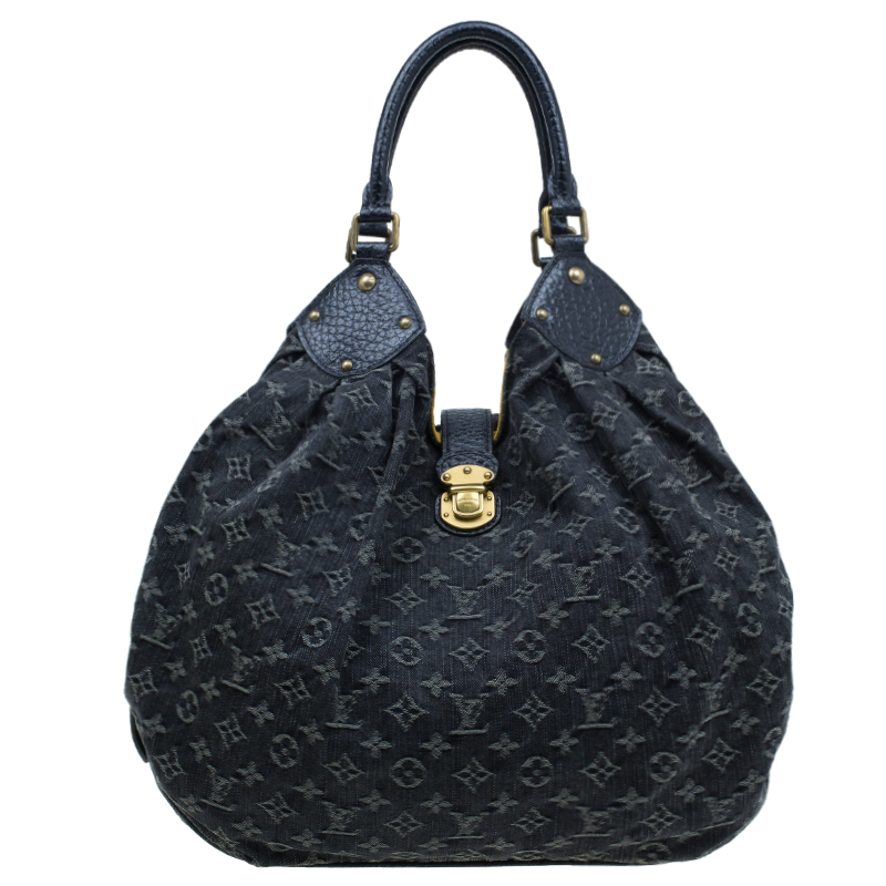cddfd1de6696 Louis Vuitton Black Monogram Denim Large Mahina Hobo Bag 73713