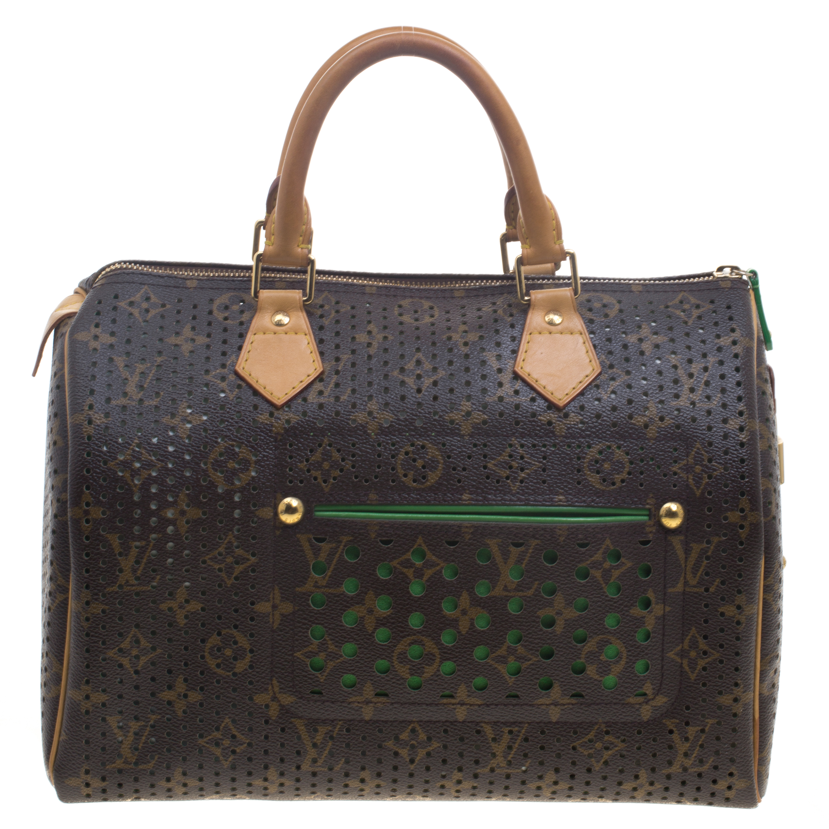 f6a68b6a Louis Vuitton Green Monogram Perforated Canvas Limited Edition Speedy 30