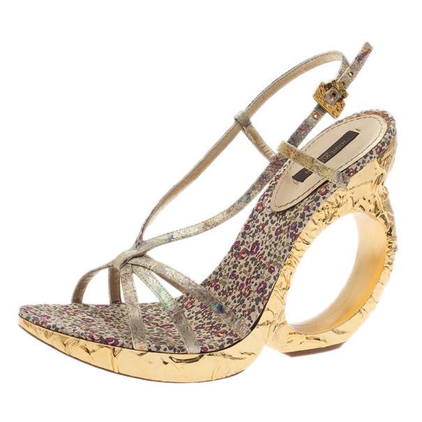 Louis Vuitton Silver Satin Feerique Morganne Wedge Sandals Size 38.5