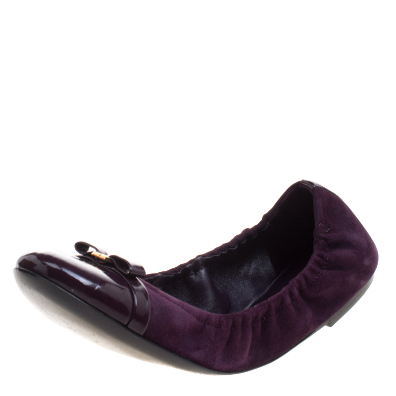 895b3ccf948 Buy Louis Vuitton Purple Suede and Leather Cap Toe Elba Ballet Flats Size  37.5 102588 at best price