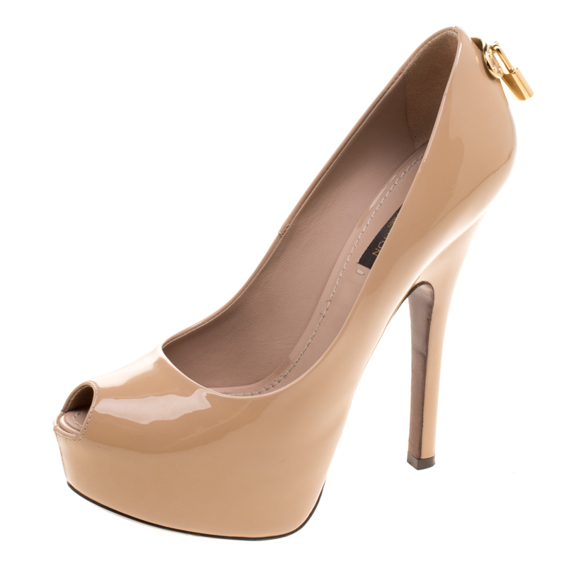 d859bd8e25c8 ... Louis Vuitton Beige Patent Leather Oh Really! Peep Toe Platform Pumps  Size 36. nextprev. prevnext