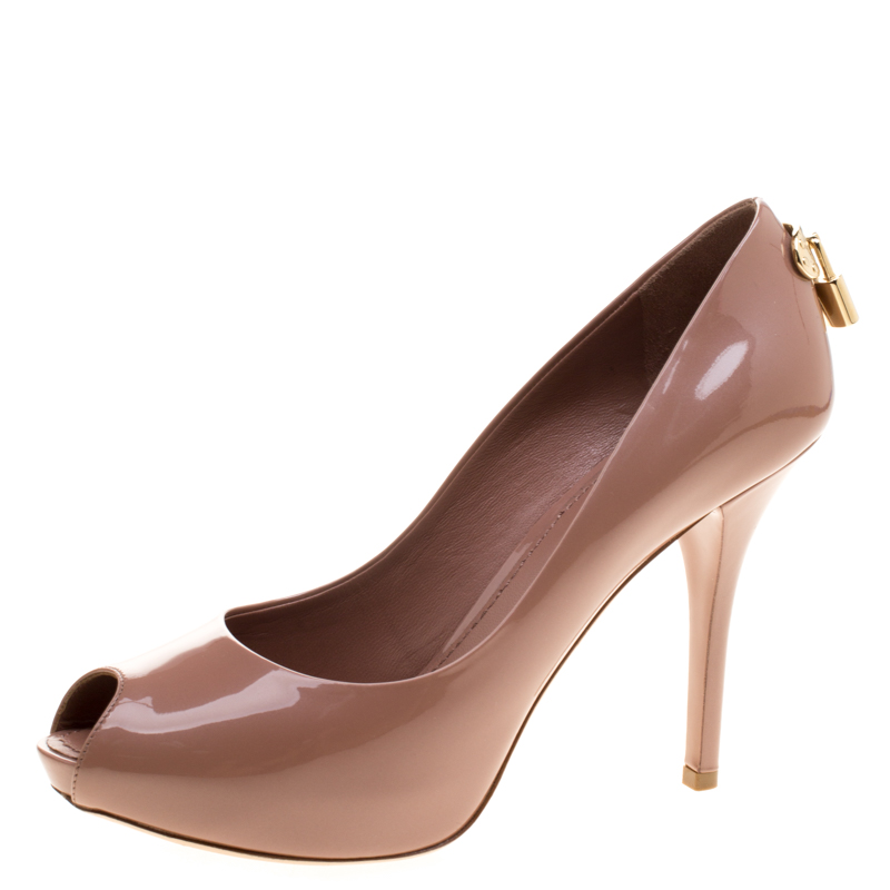 dc37f6188b73 Buy Louis Vuitton Beige Patent Leather Oh Really! Peep Toe Pumps ...