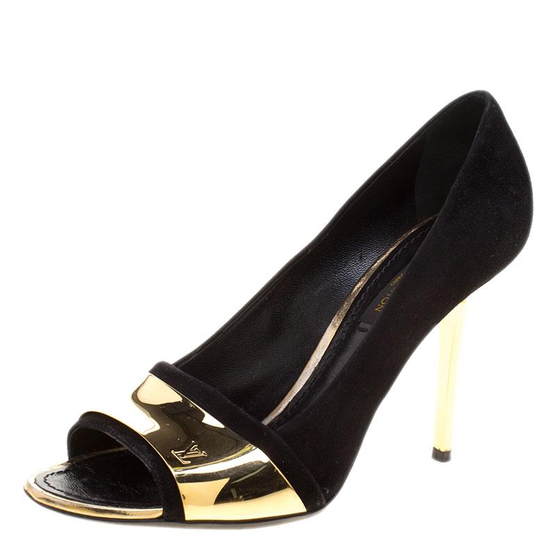 حذاء كعب عالي لوي فيتون مقدمة مفتوحة مطلي ذهب سويدي أسود مقاس 36