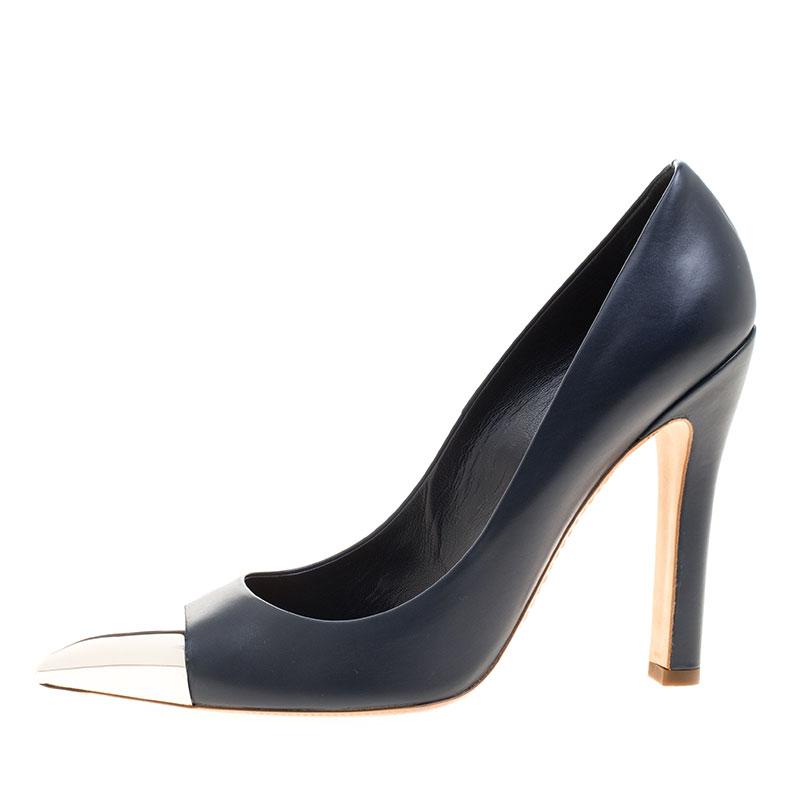 حذاء كعب عالي لوي فيتون مقدمة مدببة غطاء معدن ماري غو راوند جلد أزرق أكسفورد مقاس 38