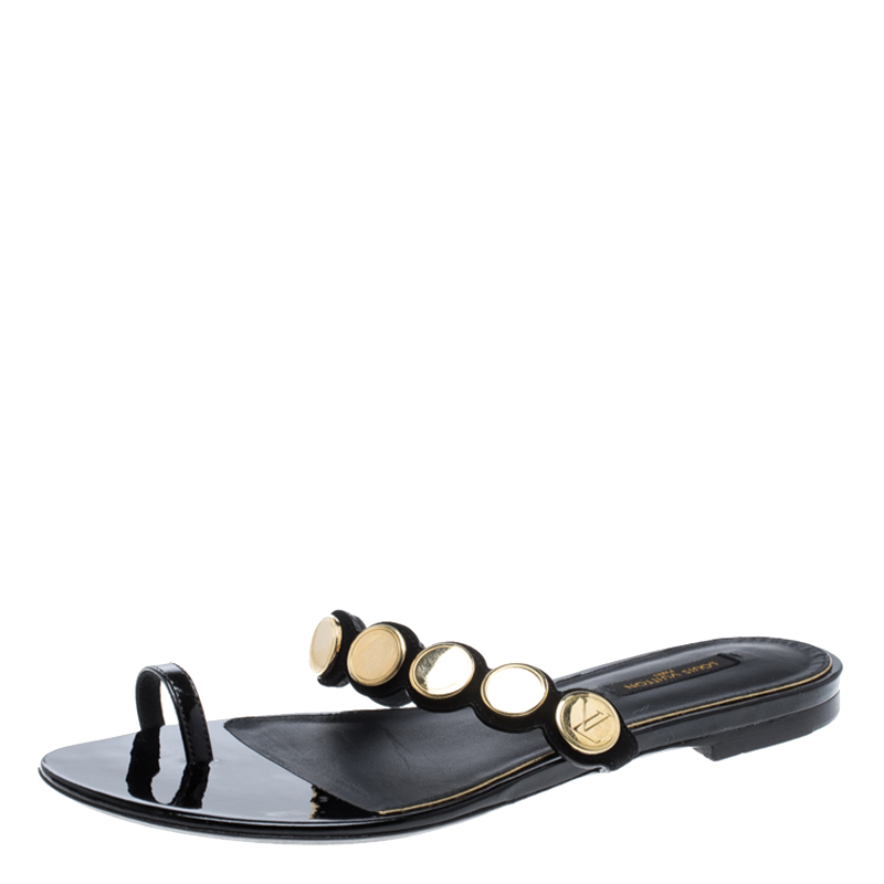 6719f1ce3aad Louis Vuitton Source · Buy Louis Vuitton Black Embellished Suede and Leather  Toe Ring Flat