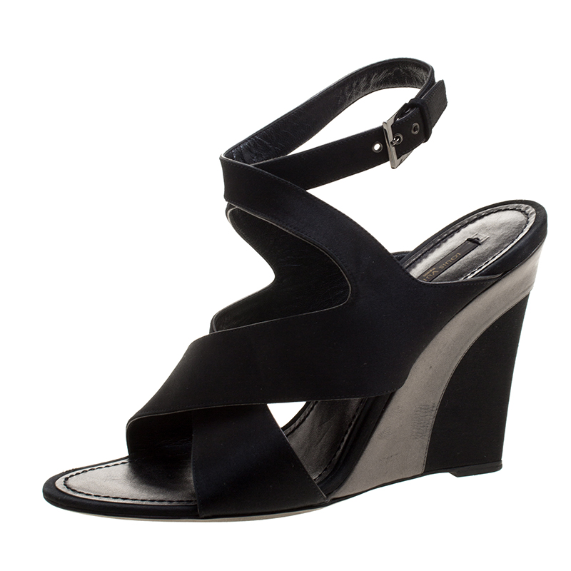 e218f5d19b3 ... Louis Vuitton Black Satin Cross Strap Peep Toe Wedge Sandals Size 39.  nextprev. prevnext