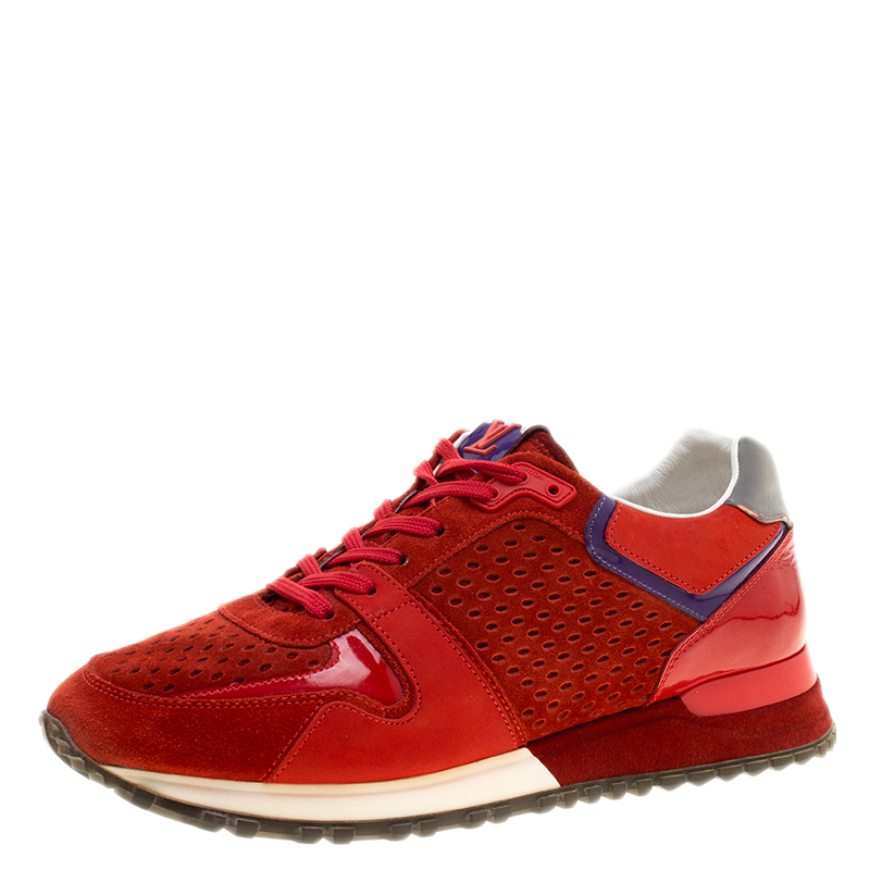 a3b6d154bf09 Buy Louis Vuitton Red Suede and Leather Run Away Lace Up Sneakers ...