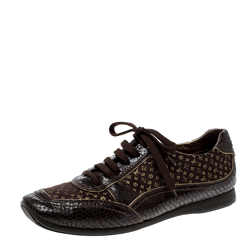 333eafa15de Louis Vuitton Brown Monogram Fabric and Embossed Python Leather Trim Low  Top Sneakers Size 40